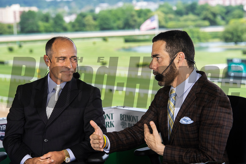 NYRA Broadcasters Gary Stevens,left and Paul LoDuca give a rundown of today's races at Belmont Park Friday June 7, 2019 in Elmont, N.Y.  Photo by Skip Dickstein