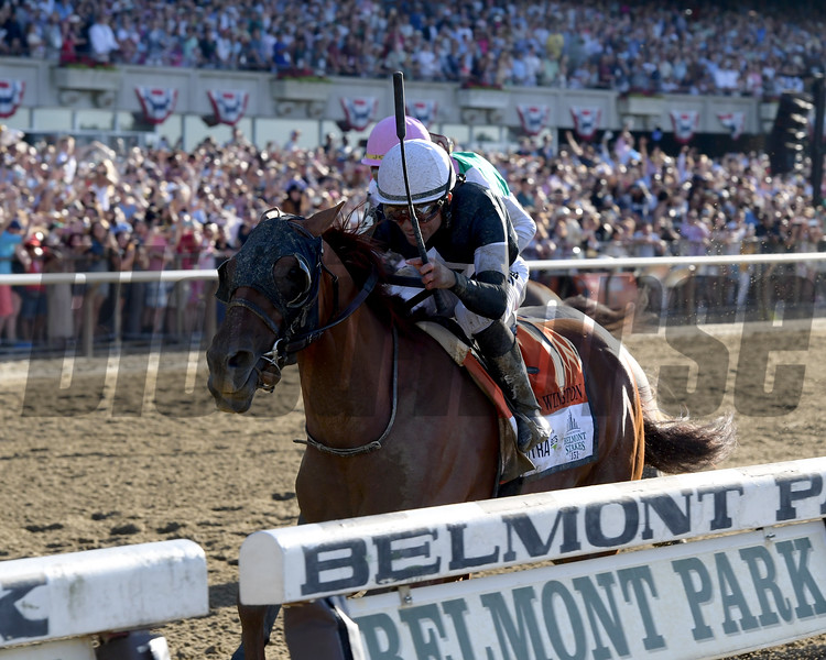 Sir Winston wins the 2019 Belmont Stakes<br /> Coglianese Photos/Joe Labozzetta