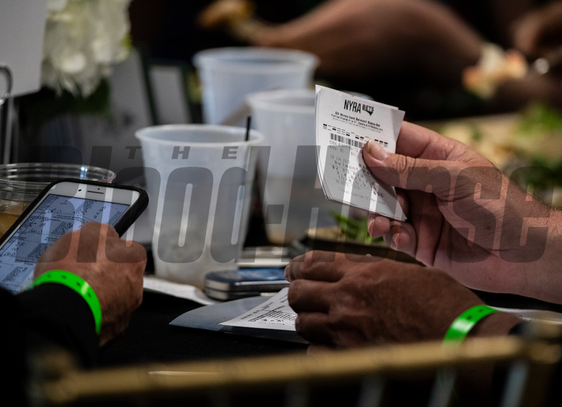 Wagers are being made at Belmont Park Saturday June 8, 2019 in Elmont, N.Y.  Photo by Skip Dickstein