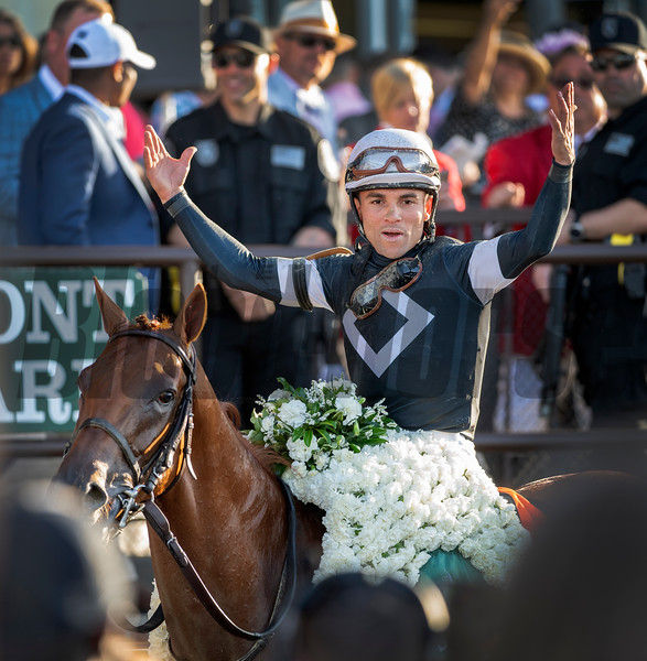 Jockey Joel Rosario is exultant after road Sir Winston to the  win in the 151st running of the Belmont Stakes held Saturday June 8, 2019 at Belmont Park in Elmont, N.Y.  Photo by Skip Dickstein
