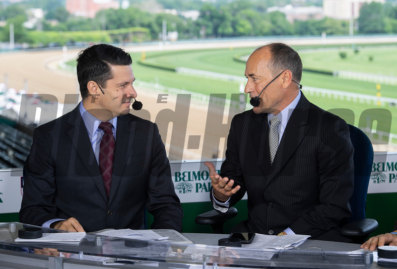 NYRA Broadcasters Greg Wolf, left and Gary Stevens give a rundown of today's races at Belmont Park Friday June 7, 2019 in Elmont, N.Y.  Photo by Skip Dickstein
