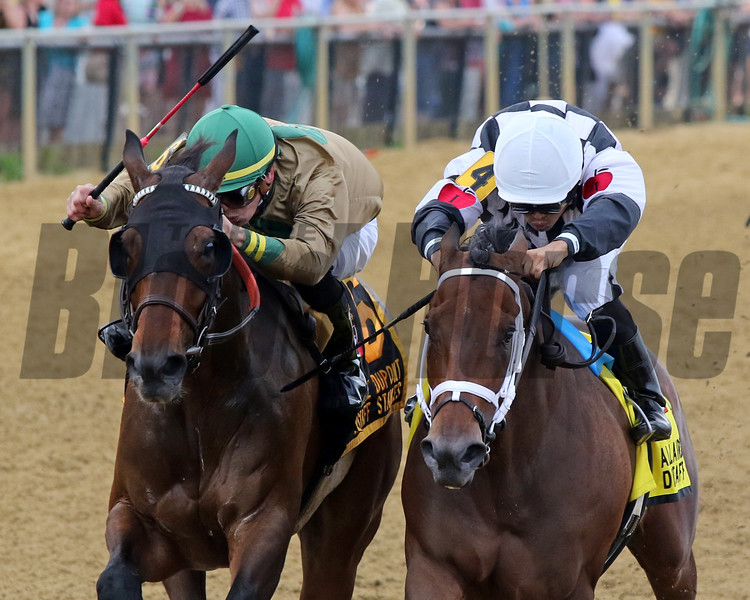 Mylady Curlin with Luis Saez win the 26th Running of the Distaff Stakes (GIII) at Pimlico over Golden Award with Tyler Gaffalione on May 17, 2019. Photo By: Chad B. Harmon