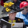 A race patron enjoys the beautiful weather at Pimlico Race Track Friday May 17, 2019, the day before the Preakness Stakes at the historic race track in Baltimore, MD.  Photo by Skip Dickstein