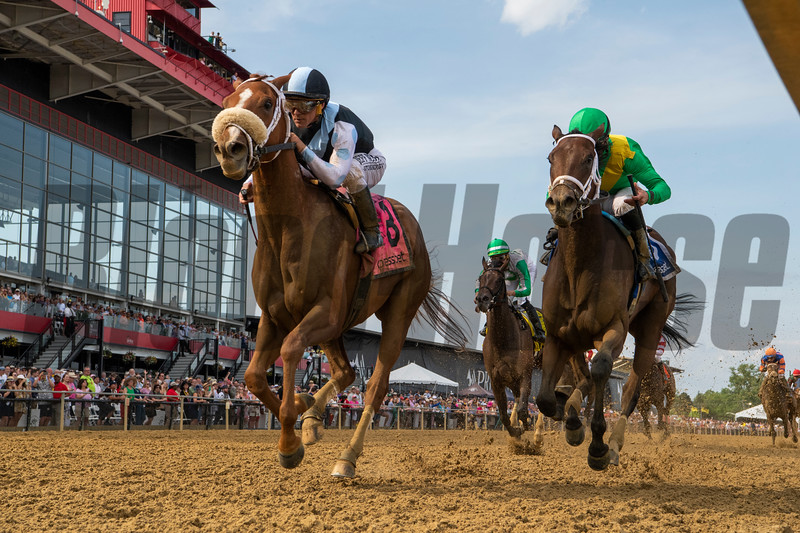 Point of Honor with jockey Javier Castellano, left out duels Ulele with jockey Joel Rosario to the win in the 95th running of The Black-Eyed Susan Stakes Friday May 17, 2019 at Pimlico Race Track in Baltimore, MD.  This was Castellano's win on the day.  Photo by Skip Dickstein/Tim Lanahan.