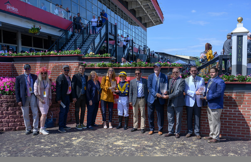 Connections of Covfefe are honored in the winner's circle after winning the 34th running of the Adena Springs' Miss Preakness Stakes(GIII) Friday May 17, 2019 at Pimlico Race Track in Baltimore, MD.  Photo by Skip Dickstein.