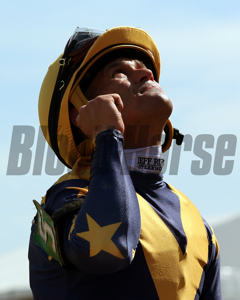 Javier Castellano celebrates after winning the 47th Running of the Hilltop Stakes aboard Dogtag at Pimlico on May 17, 2019. Photo By: Chad B. Harmon
