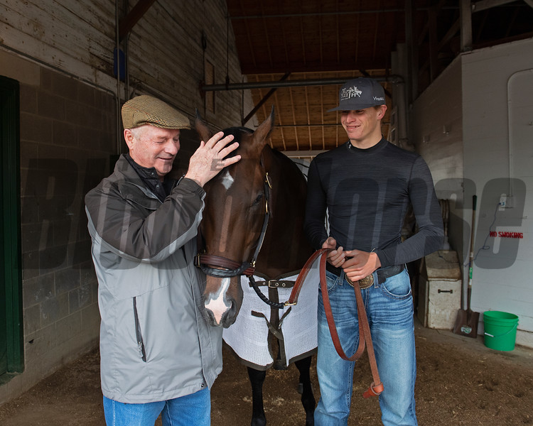 Omaha Beach with Richard Mandella, left, and Taylor Cambra. Morning scenes at Churchill Downs during Derby week 2019  April 29, 2019 in Louisville,  Ky.