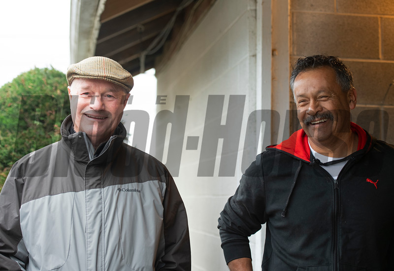 l-r, Richard Mandella and Jose Vega Barrera. Morning scenes at Churchill Downs during Derby week 2019  April 26, 2019 in Louisville,  Ky. Photo: Anne M. Eberhardt