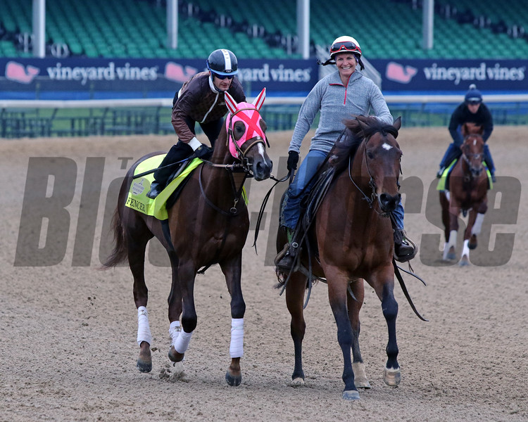 Master Fencer with Julien Leparoux on the track at Churchill Downs on April 30, 2019. Photo By: Chad B. Harmon