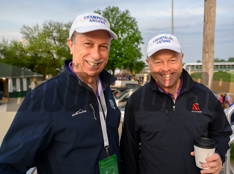 Randy Block, part owner of Champagne Everyone in the Oaks with trainer Ian Wilkes in the Keeneland Tent at Churchill Downs Wednesday May 1, 2019 in Louisville, KY.<br /> Photo by Skip Dickstein