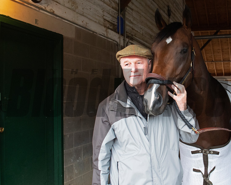 Richard Mandella with Omaha Beach. Morning scenes at Churchill Downs during Derby week 2019  April 29, 2019 in Louisville,  Ky.