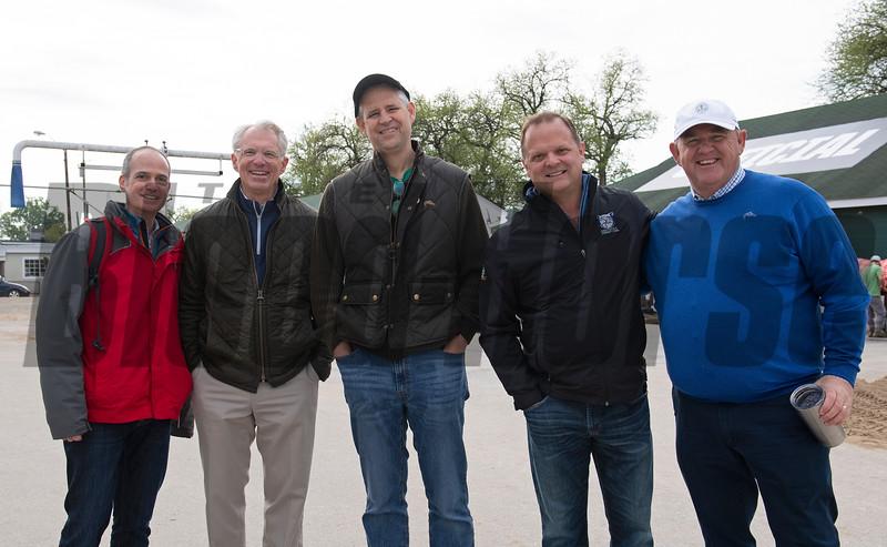 l-r, Mike Ziegler, Alex Rankin, Bill Carstanjen, Bill Mudd, and Bob Elliston at Churchill Downs Monday, April 29, 2019. Photo: Anne M. Eberhardt