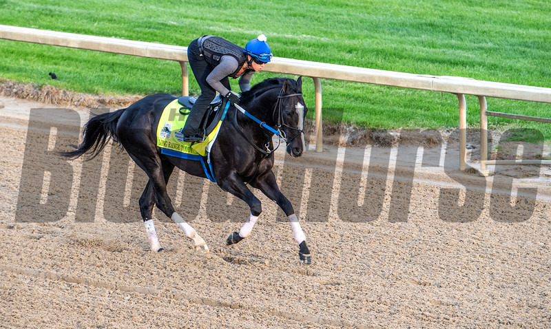 Long Range Toddy goes out for a gallop on the main track at Churchill Downs Wednesday May 1, 2019 in Louisville, KY.<br /> Photo by Skip Dickstein