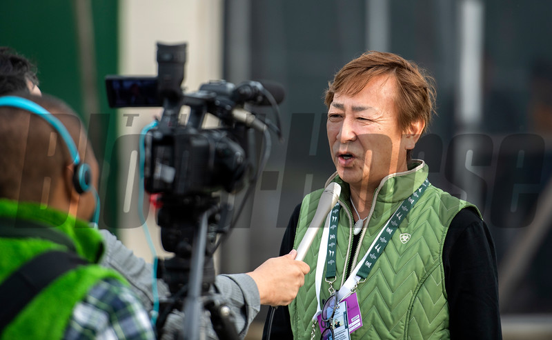 Master Fencer's trainer Koichi Tsunoda speaks to Japanese press at Churchill Downs Wednesday May 1, 2019 in Louisville, KY.<br /> Photo by Skip Dickstein