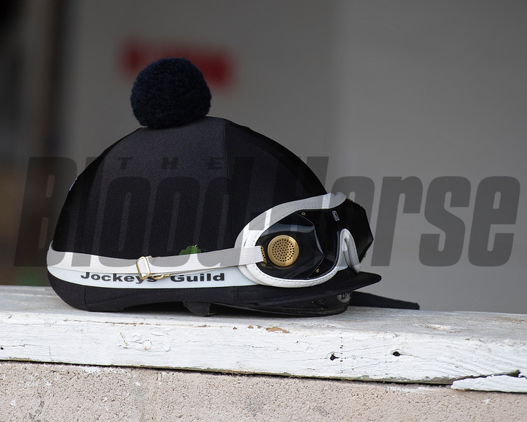 4 leaf clover found at Mandella's barn and placed in Taylor Cambra riding helmet. Morning scenes at Churchill Downs during Derby week 2019  April 29, 2019 in Louisville,  Ky.