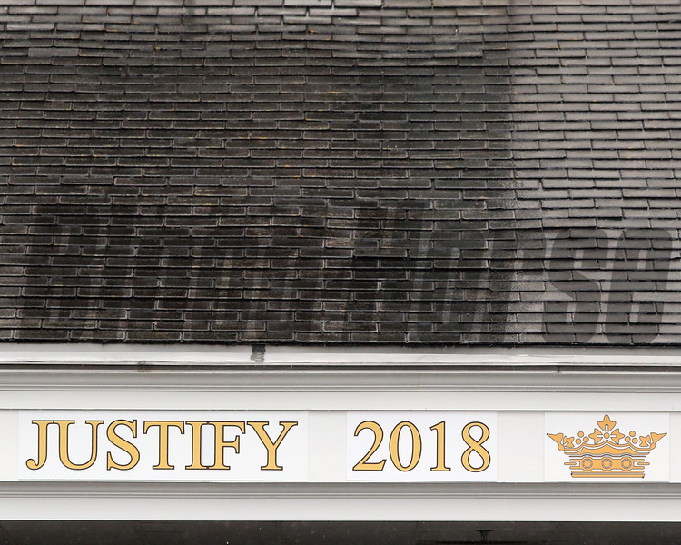 Justify Triple Crown signage in the paddock at Churchill Downs on May 3, 2019. Photo By: Chad B. Harmon
