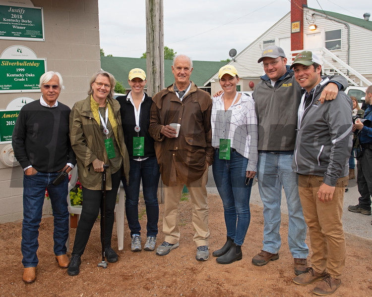 Arthur Hancock family poses with Bob Baffert, left. Roadster. Morning scenes at Churchill Downs during Derby week 2019  April 30, 2019 in Louisville,  Ky.