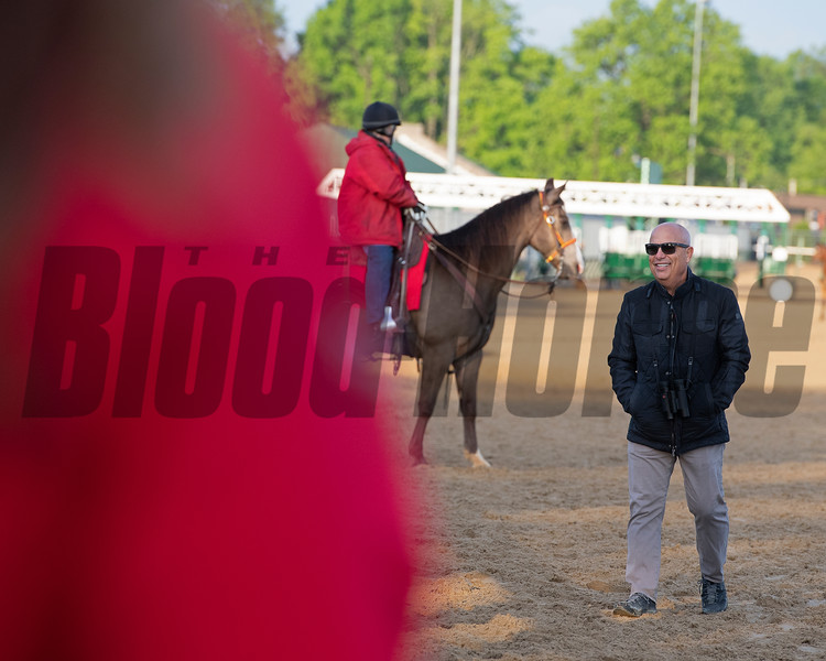 trainer Mark Casse on track waiting for War of Will. Morning scenes at Churchill Downs during Derby week 2019  April 29, 2019 in Louisville,  Ky.