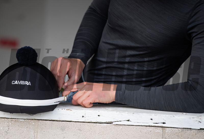 4 leaf clover found at Mandella's barn and placed by Taylor in Taylor Cambra riding helmet. Morning scenes at Churchill Downs during Derby week 2019  April 29, 2019 in Louisville,  Ky.
