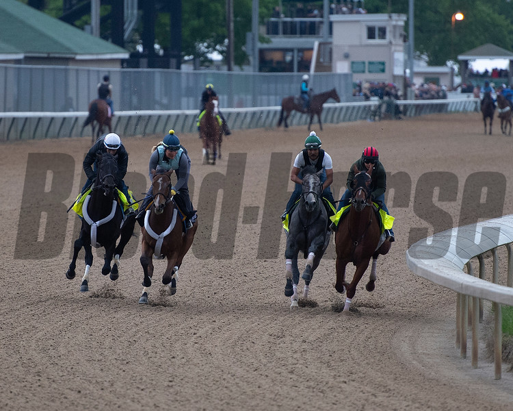 r-l; Country House, Tacitus, Workmate Souper Courage and Win Win Win. Morning scenes at Churchill Downs during Derby week 2019  April 28, 2019 in Louisville,  Ky.