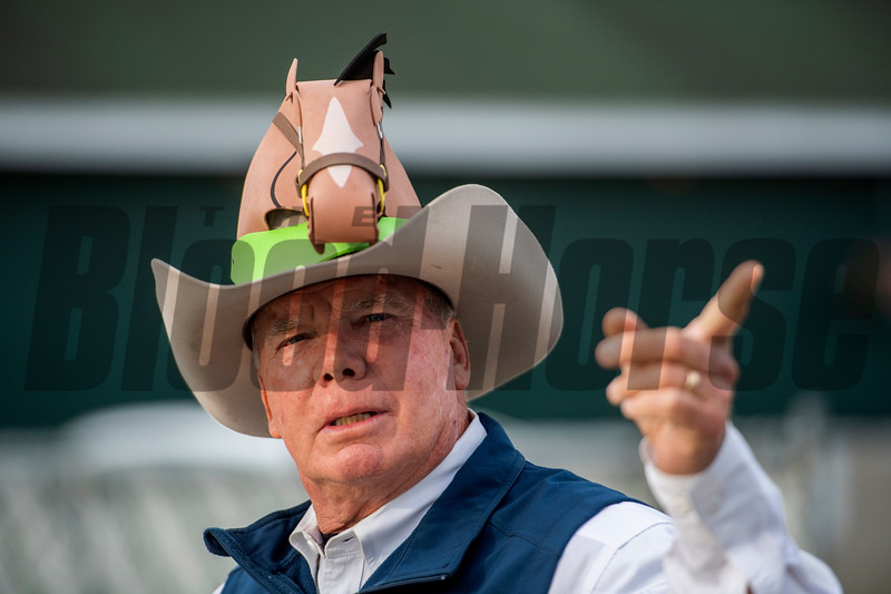 Mayor John Black shows off his Derby Hat on the backside at Churchill Downs Wednesday May 1, 2019 in Louisville, KY.<br /> Photo by Skip Dickstein
