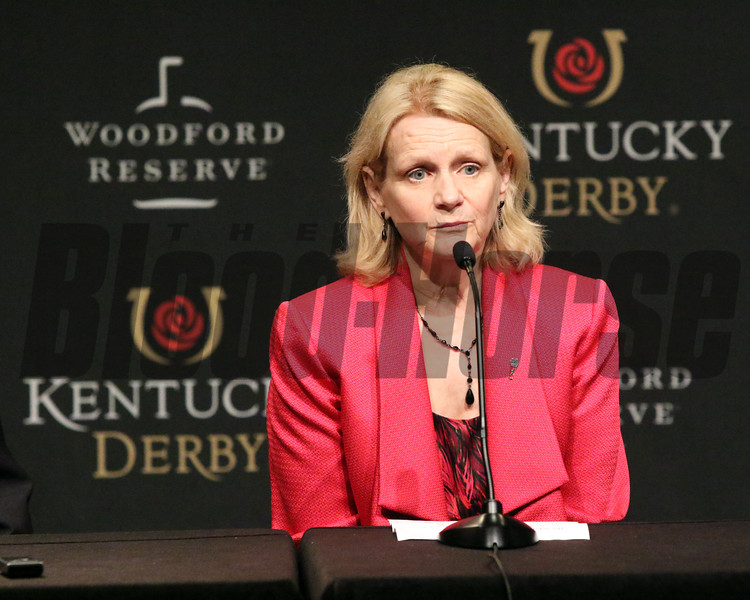 Chief Steward Barbara Borden reads a statement following the disqualification of Maximum Security after the 145th Running of the Kentucky Derby (GI). Photo By: Chad B. Harmon