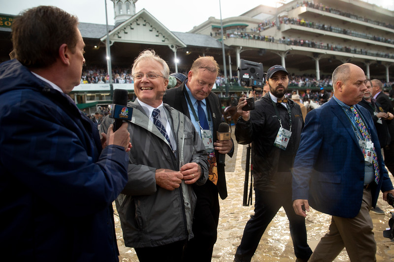 Bill Mott celebrates after the announcement of Country House's Kentucky Derby victory at Churchill Downs on Derby Day on May 4, 2019 in Louisville, Ky.