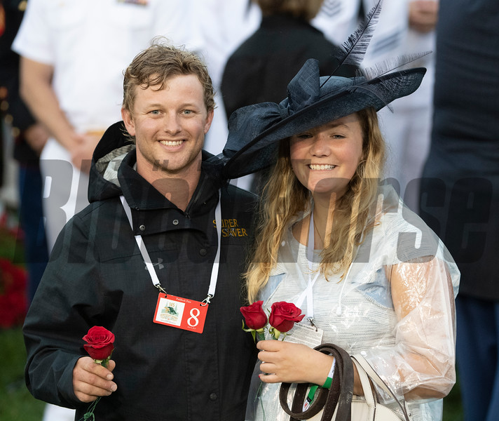 Assistant Trainer Riley Mott and friend Megan Collier are jubilant after he was placed first after Maximum Security was taken down in the 145th Kentucky Derby Saturday May 4, 2019 in Louisville, KY.  Photo by Skip Dickstein/Tim Lanahan