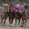Country House, War of Will, Maximum Security, and Code of Honor (left to right) battle at the top of the stretch in the 145th running of the Kentucky Derby presented by Woodford Reserve. Country House with Flavien Prat aboard was declared the winner after Maximum Security was disqualified for interference on the far turn. Code of Honor placed second.