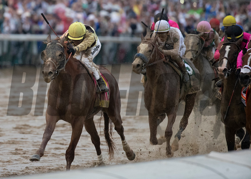 Country House and Flavien Prat heading down the stretch in the Kentucky Derby at Churchill Downs on May 4th, 2019.