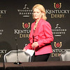 Chief Steward Barbara Borden enters the press conference prior to reading a statement following the disqualification of Maximum Security after the 145th Running of the Kentucky Derby (GI). Photo By: Chad B. Harmon
