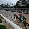 The field heading down the stretch in the Kentucky Derby at Churchill Downs on May 4th, 2019.