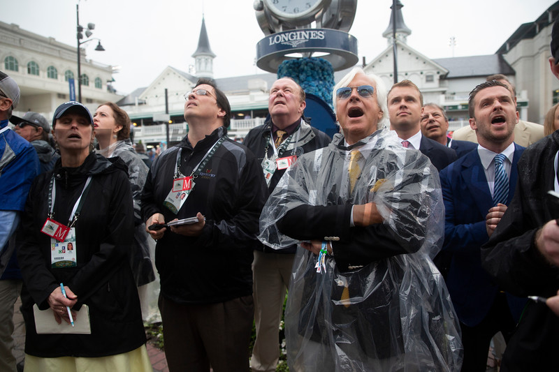 Bob Baffert cheers while watching the Kentucky Derby from the paddock at Churchill Downs on Derby Day on May 4, 2019 in Louisville, Ky.
