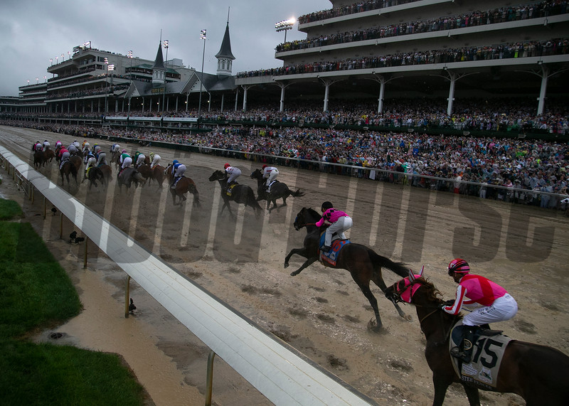 The field at the start of the Kentucky Derby at Churchill Downs on May 4th, 2019.