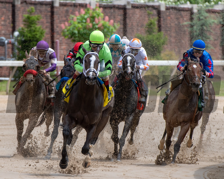 Break Even, with Shaun Bridgmohan aboard, wins the 64th running of The Eight Belles (G2) ar Churchill Downs on May 3rd, 2019.