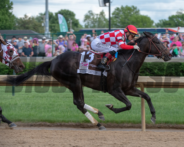 Serengeti Empress, Jose Ortiz aboard, wins the 145th Kentucky Oaks at Churchill Downs on May 3rd, 2019.