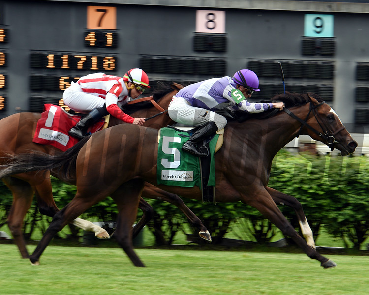Concrete Rose with Julien Leparoux win the 35th Running of the Edgewood (GIII) at Churchill Downs on May 3, 2019. <br /> Dave Harmon