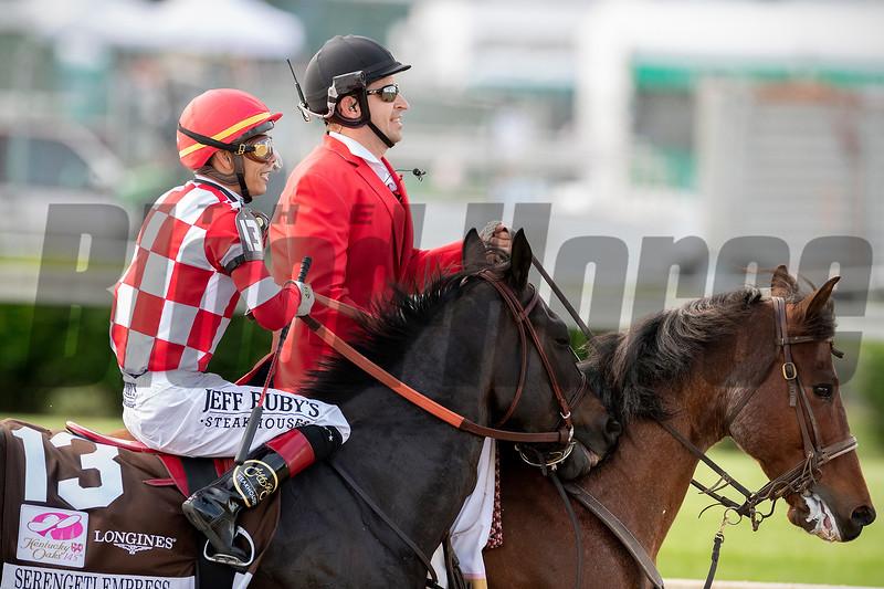 SERENGETI EMPRESS wins the Kentucky Oaks at Churchill Downs, May 3rd, 2019, jockey Jose Ortiz up