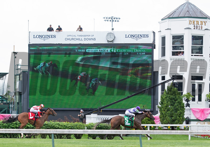 Concrete Rose with Julien Leparoux wins the Edgewood (G3) at Churchill Downs during Derby week 2019  May 3, 2019 in Louisville,  Ky.