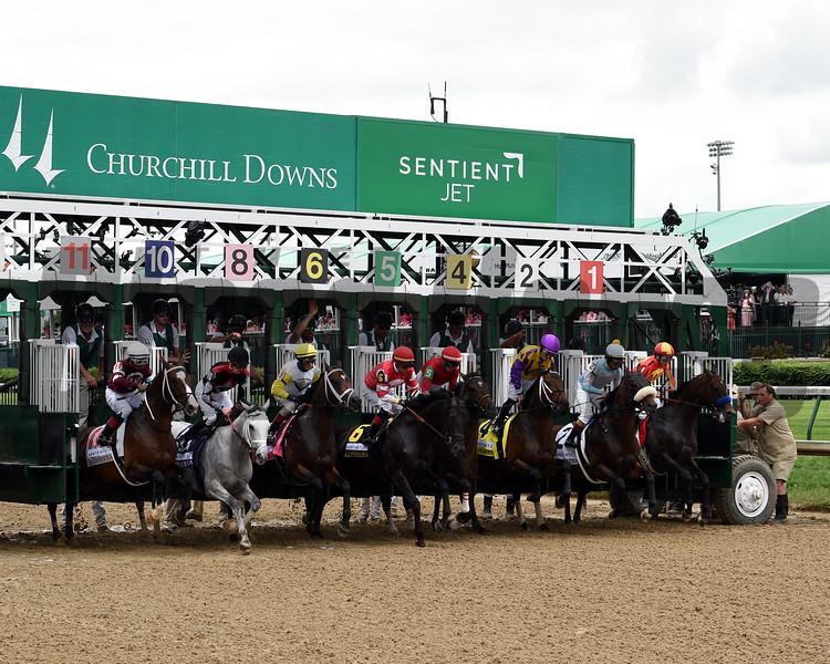 McKinzie wins the Alysheba Stakes at Churchill Downs Friday, May 3, 2019. Photo: Dave Harmon