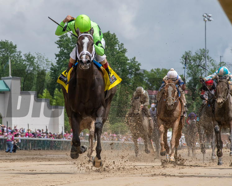 Break Even wins the Eight Belles Stakes Friday, May 3, 2019. Photo: Skip Dickstein