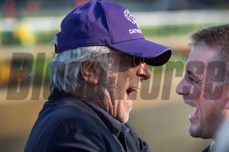 Owner Robert LaPenta is exhaultant as he speaks with trainer Jonathan Thomas after Catholic Boy ridden by jockey Javier Castellano won the 118th running of The Maker's Mark Dixie Stakes (GII) at Pimlico Race Course Saturday May 18, 2019 in Baltimore, MD.  Photo by Skip Dickstein