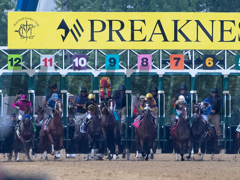 Jockey John Velazquez is unseated from his mount on Bodeexpress at the start in the 144th running of The Preakness Stakes Saturday May 8th at Pimlico Race Course in Baltimore, MD.  Photo by
