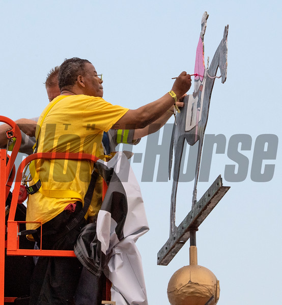 The silks of Gary Barber are painted on the weathervane on the cupola in the infield after War of Will won the 144th running of The Preakness Stakes Saturday May 8th at Pimlico Race Course in Baltimore, MD.  Photo by