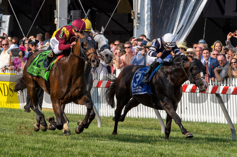 Catholic Boy ridden by jockey Javier Castellano passes Admission Office ridden by Joel Rosario to win the 118th running of The Maker's Mark Dixie Stakes (GII) at Pimlico Race Course Saturday May 18, 2019 in Baltimore, MD.  Photo by Skip Dickstein