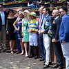 Ickymasho ridden by Jose Ortiz and the connections gather in the winner's circle after 10th running of The Ole Smokey Moonshine Searching Stakes Saturday May 18, 2019 at Pimlico Race Course in Baltimore, MD.  Photo by Skip Dickstein.