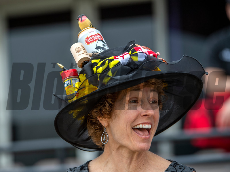 Race fans with unusual hats are abound at Pimlico Race Course Saturday May 18, 2019 on Preakness Stakes Day in Baltimore, MD.  Photo by Skip Dickstein