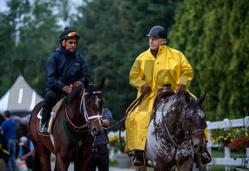 Market King goes out his morning exercise with trainer D. Wayne Lukas at the Pimlico Race Course Thursday May 16, 2019 in Baltimore,MD.  Photo by Skip Dickstein
