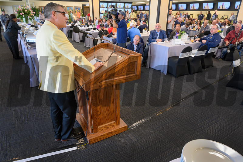 SiriusXM radio personality Steve Byk gives his acceptance speech after receiving The Old Hilltop Award at the Alibi Breakfast at the Pimlico Race Course Thursday May 16, 2019 in Baltimore,MD.  Photo by Skip Dickstein