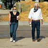 (L-R): Jill and Bob Baffert walking the barn area at Churchill the morning after Authentic wins the Kentucky Derby (G1) at Churchill Downs, Louisville, KY on September 5, 2020. Photo: Anne M. Eberhardt